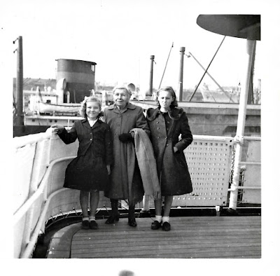 Lena Vasilev, Tanya Sarsfield, and Stephany Mitrofanenko on board the SS Pacific Transport in 1953