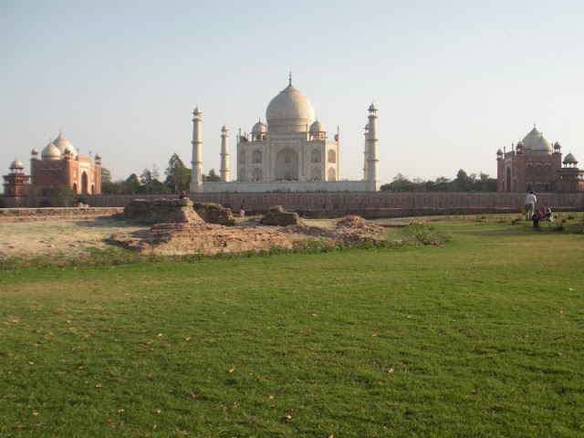 The Taj Mahal viewed from across the Yamuna River on a Day Trip from Delhi to Agra