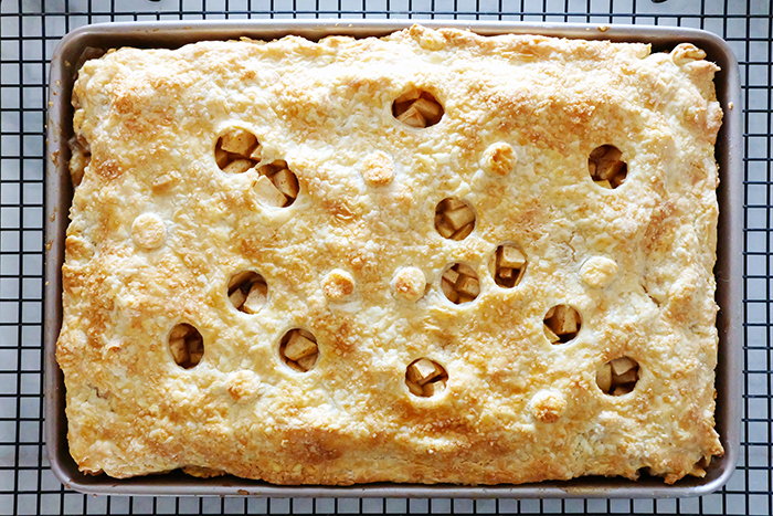 freshly baked apple slab pie with buttermilk crust