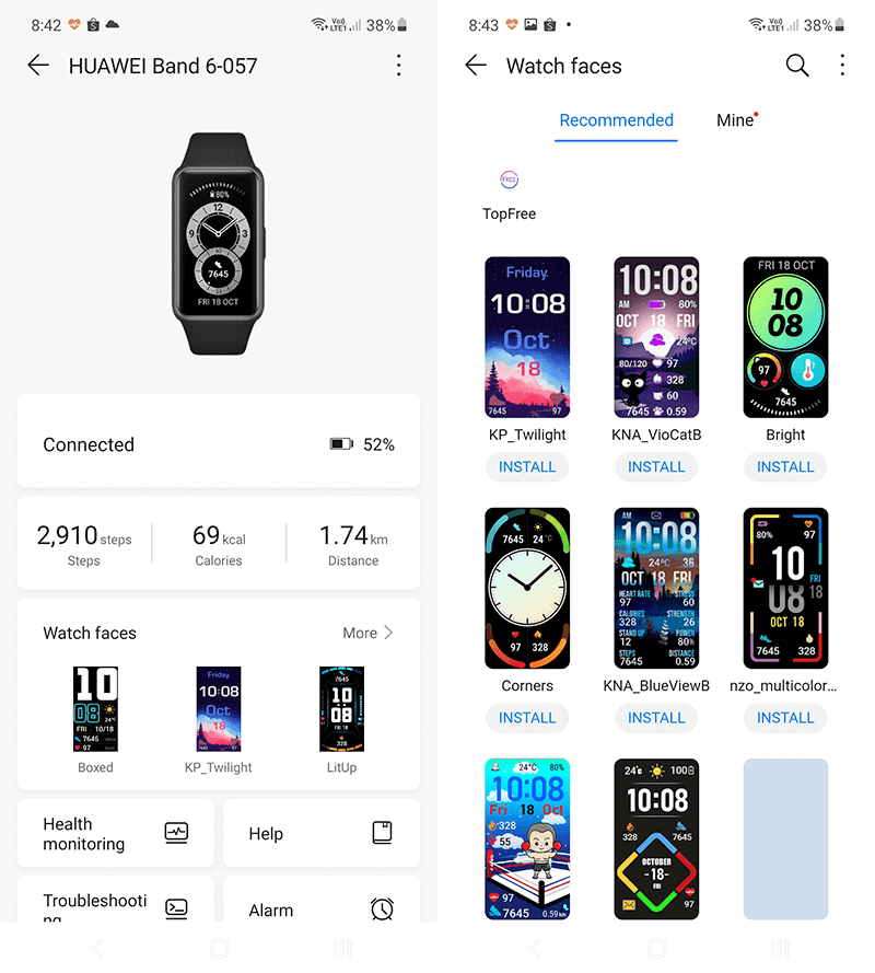 Huawei Health app page for connected device