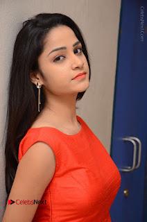Telugu Actress Divya Nandini Stills in Orange Sleeveless Gown at Chennai Chaitrama Movie le Launch Event  0073.JPG
