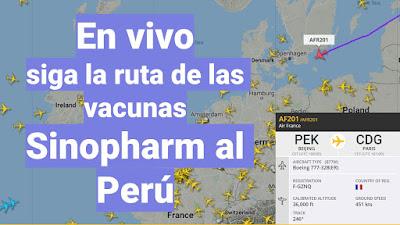 En vivo siga la ruta de las vacunas Sinopharm al Perú