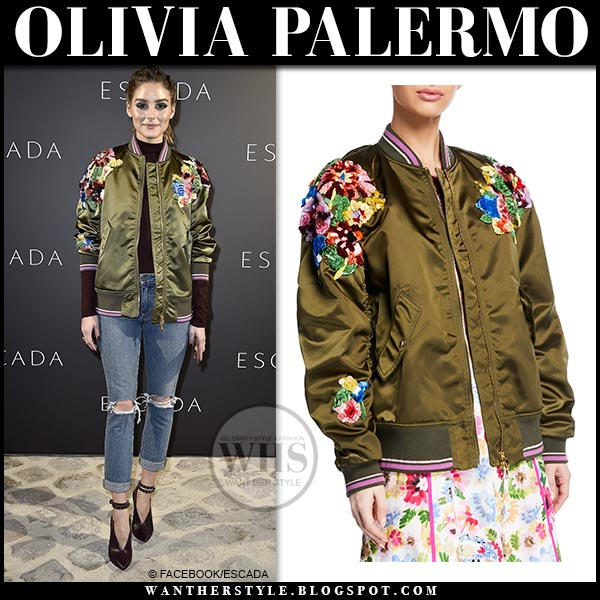 cc2afd753c290 Olivia Palermo in green satin flower embellished Escada bomber. Fashion  week outfit february 27 paris