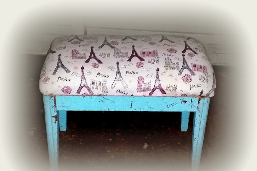 Upholstered Bench - A Night in Paris, Shabby Chic Style - $30 | OKC Craigslist Garage Sales