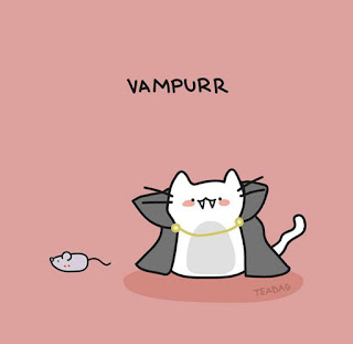 Cat on Halloween Meme by @teabag.cartoon on Instagram