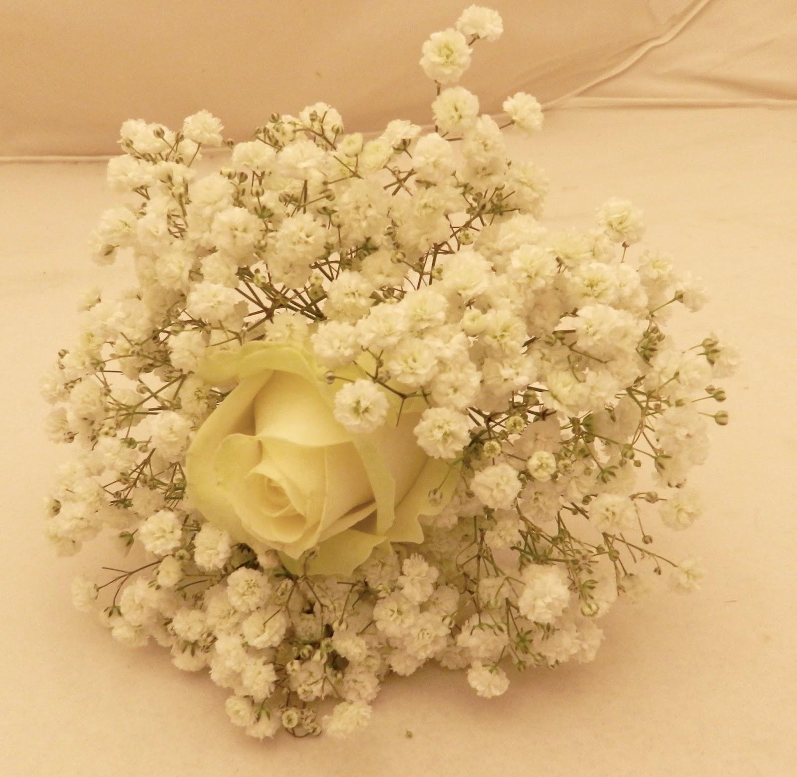 Sandra's Flower Studio: Ivory roses and gyp wedding flowers
