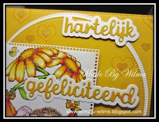"""Een close-up van """"hartelijk gefeliciteerd"""" met schaduw omringd met hartjes. A close-up of """"Happy Birthday"""" (Dutch words) with shadow surrounded by hearts."""