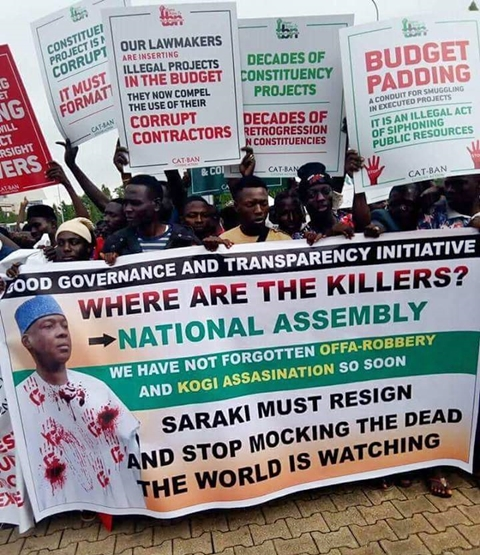 Saraki Reacts: Buhari's Ministers, APC Governors Behind Protest At National Assembly