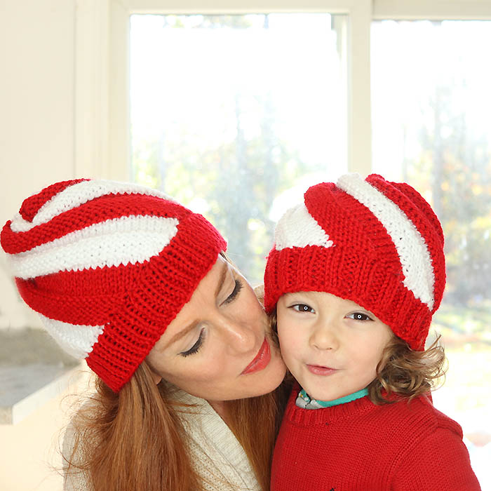 Easy Candy Cane Swirl Hats Free Knitting Pattern- women and kids sizes