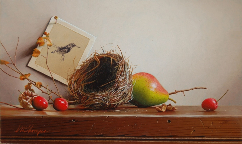 05-Nest-with-Cherries-and-Walnut-Mark-Thompson-Photo-Realistic-Still-Life-Paintings-www-designstack-co