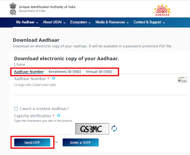 Download with the Name and Date of Birth Entered in the Aadhar Form