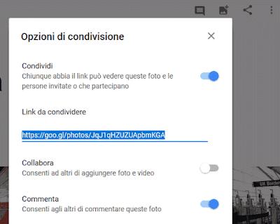 Togliere condivisione album Google Foto