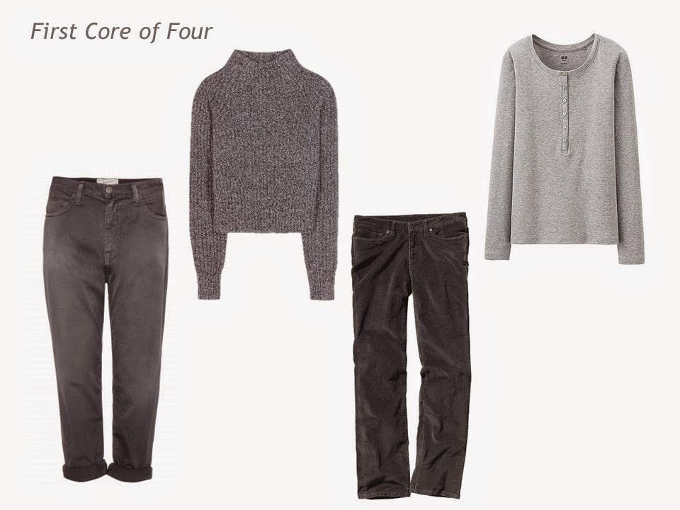 Core of Four in grey: jeans, sweater, corduroy pants and Henley tee shirt
