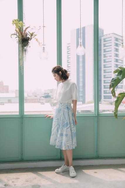 晴空捲雲飄飄雪紡裙-天藍