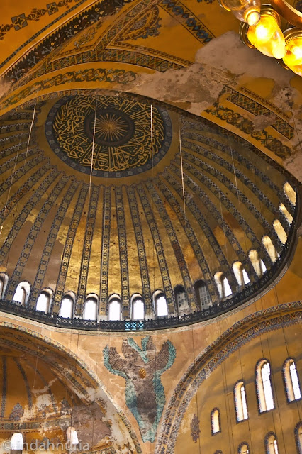 amazing ceiling at Hagia Sofia, Istanbul, Turkey
