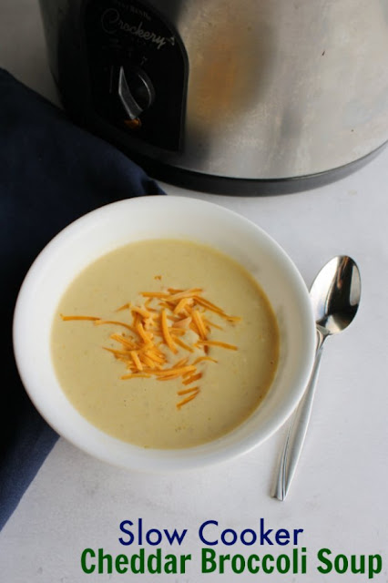Super creamy soup with the goodness of cheddar and broccoli made easy in your slow cooker. This fabulous recipe will warm your insides and fill you up.