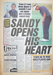 Vintage Sunday Sport newspaper back page from 12th July 1987