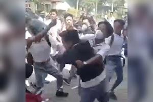 Viral video tawuran pelajar di Praya Lombok Tengah