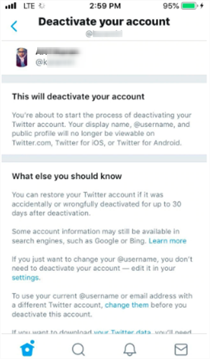 Steps to delete twitter account via phone