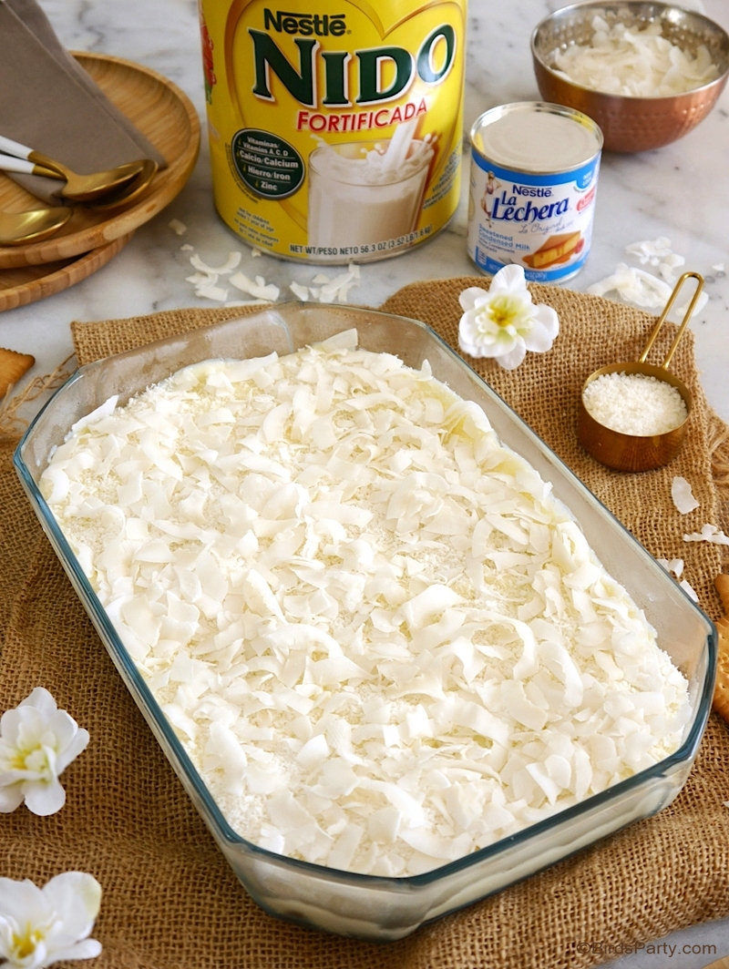 NO-BAKE Coconut Pudding or Pudin de Coco – a quick, easy and scrumptious dessert recipe that is perfect served at your celebrations of Hispanic Heritage Month! by @birdsparty  BirdsParty.com #hispanicheritagemonth #publix #coconut #coconutpudding #nobakedessert #desserts #recipe #iceboxcake #coconutdessert #coconuticeboxcake