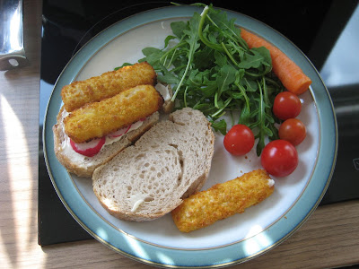 Fish Finger Sandwiches with Vegetables and Mayonnaise