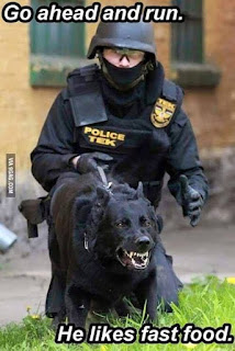 Dog Humor: Go ahead and run, He likes fast food