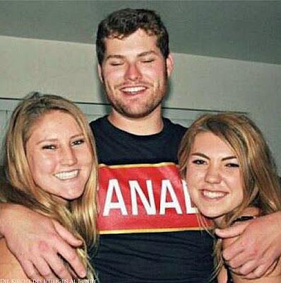 Lustige Menschen Bilder - Kanada - Mann mit zwei Frauen im Arm