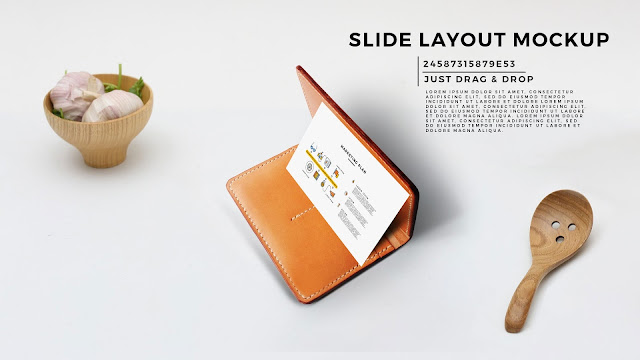 Perspective Business Cards Style Presentation Mockup for PowerPoint Template with Leather Case in Background