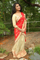 Akshara in Red Saree Golden Choli at LV Movie Makers Production No 1 Movie Opening ~  Exclusive 065.JPG