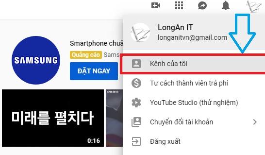 Truy cập vào kênh của bạn trên Youtube