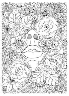 מנדלה פרחים פנים לצביעה