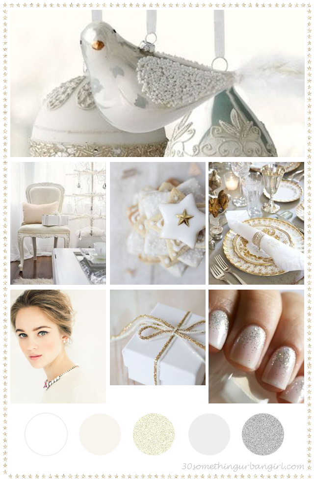 glamorous white Christmas color palette inspiration