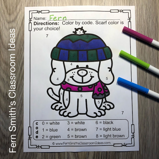 Winter Color By Number Kindergarten Know Your Numbers by #FernSmithsClassroomIdeas