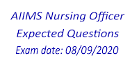 AIIMS Nursing Officer Exam Expected Questions- 08-09-2020