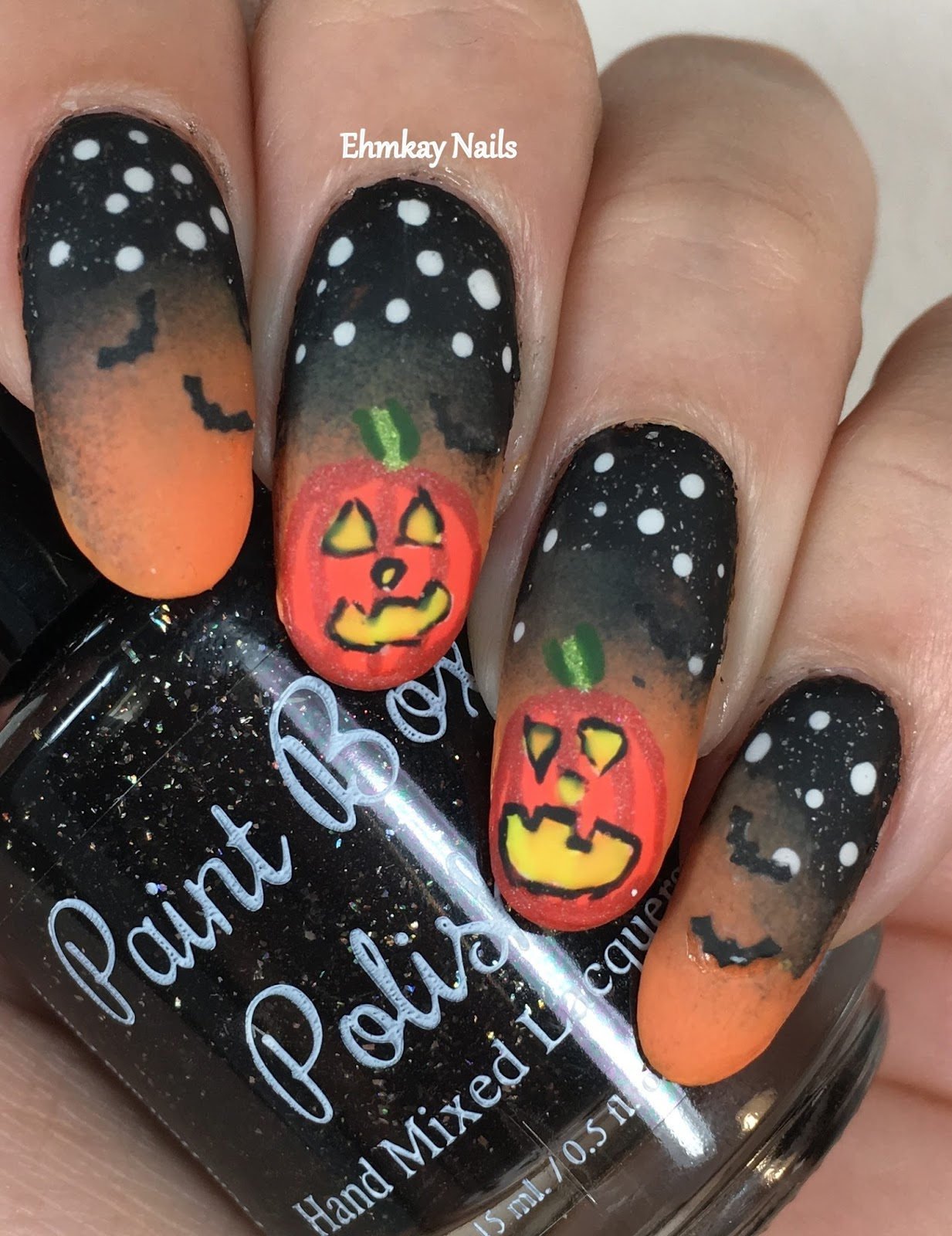 ehmkay nails: Halloween Nail Art: Glowing Pumpkin Nail Art ...