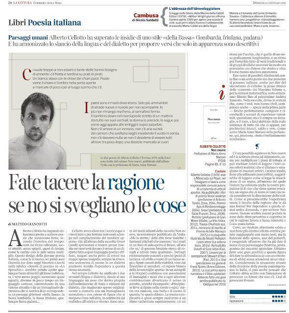 """Alberto Cellotto, Non essere (Vydia, 2019) - recensione di Matteo Giancotti su """"La Lettura"""" del """"Corriere della Sera"""""""
