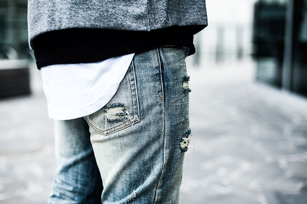 MNML M1 Vintage Denim / MNML White Split-Back Scallop Tee / MNML Grey Alpha Hoodie by Tom Cunningham