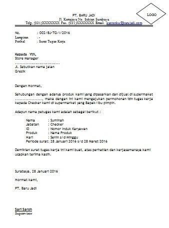 Contoh Surat Tugas Kerja Perusahaan Cara Buat Surat