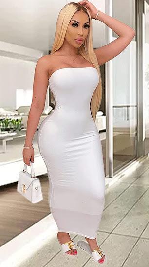 Sexy White Strapless Maxi Dresses