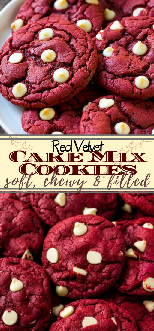 Red Velvet Cake Mix Cookies #desserts #cakerecipe #chocolate #fingerfood #easy