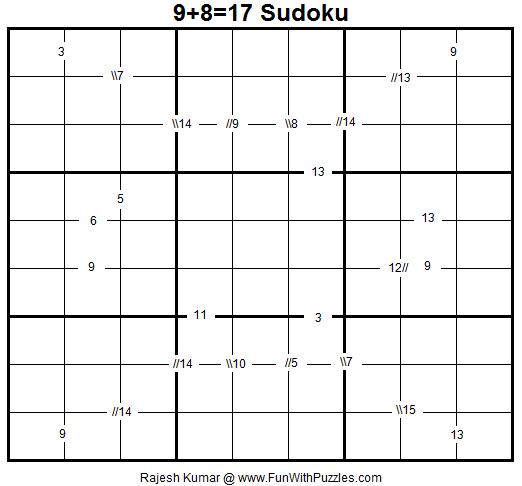 9+8=17 Sudoku (Fun With Sudoku #34)