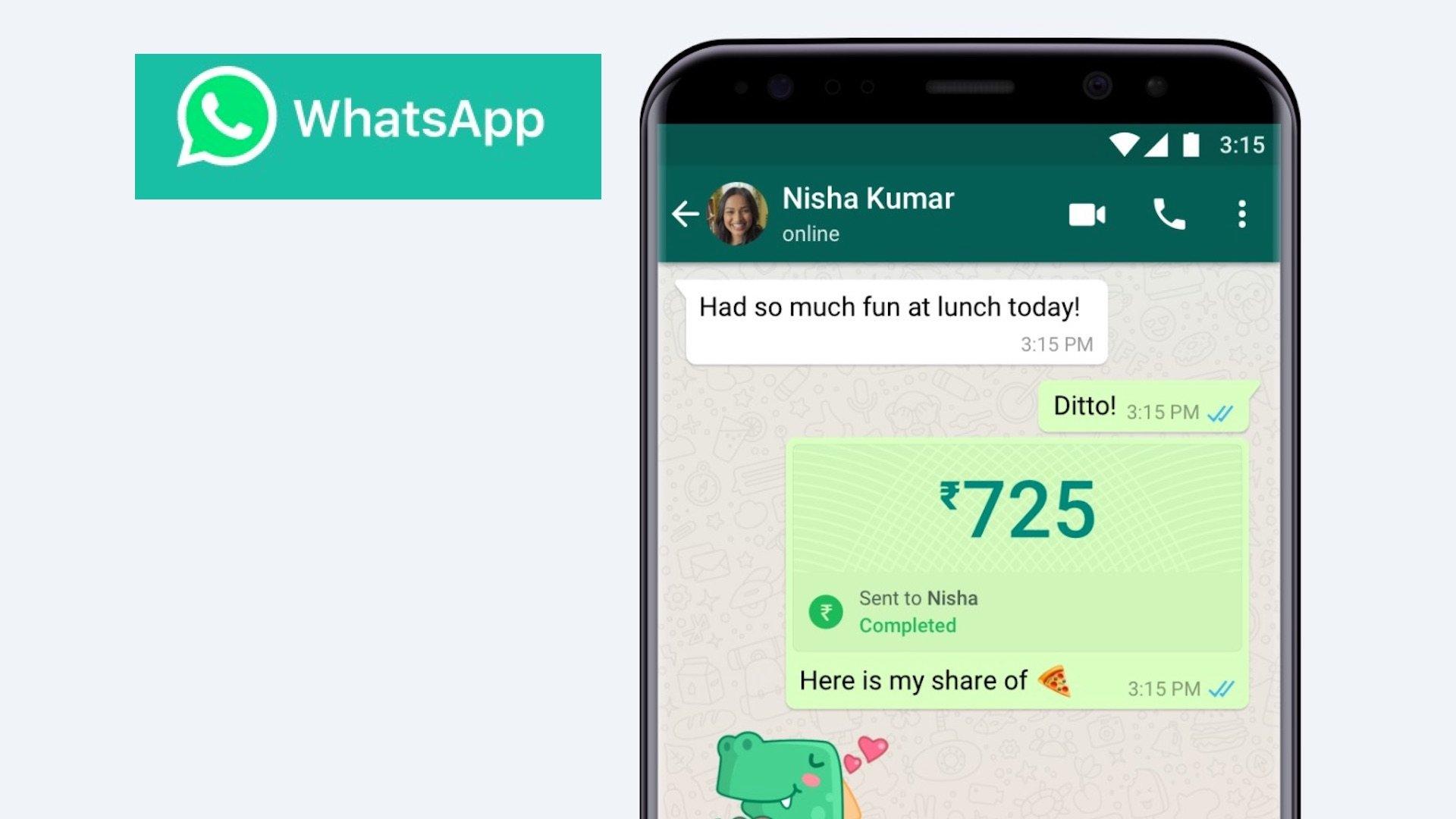 whatsap com função de pagamento