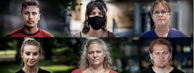 Kollage med porträttbilder av de sex medverkande personerna i dokumentären.
