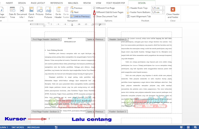 Aktifkan Different First Page