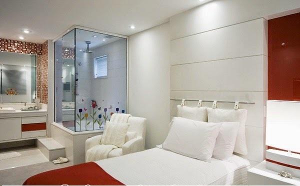 DECORA INTERI Banheiros integrados aos Quartos -> Quarto Com Banheiro Pequeno Integrado