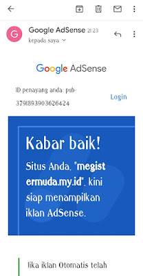 Bukti Domain my.id Juga Bisa Diterima Google Adsense