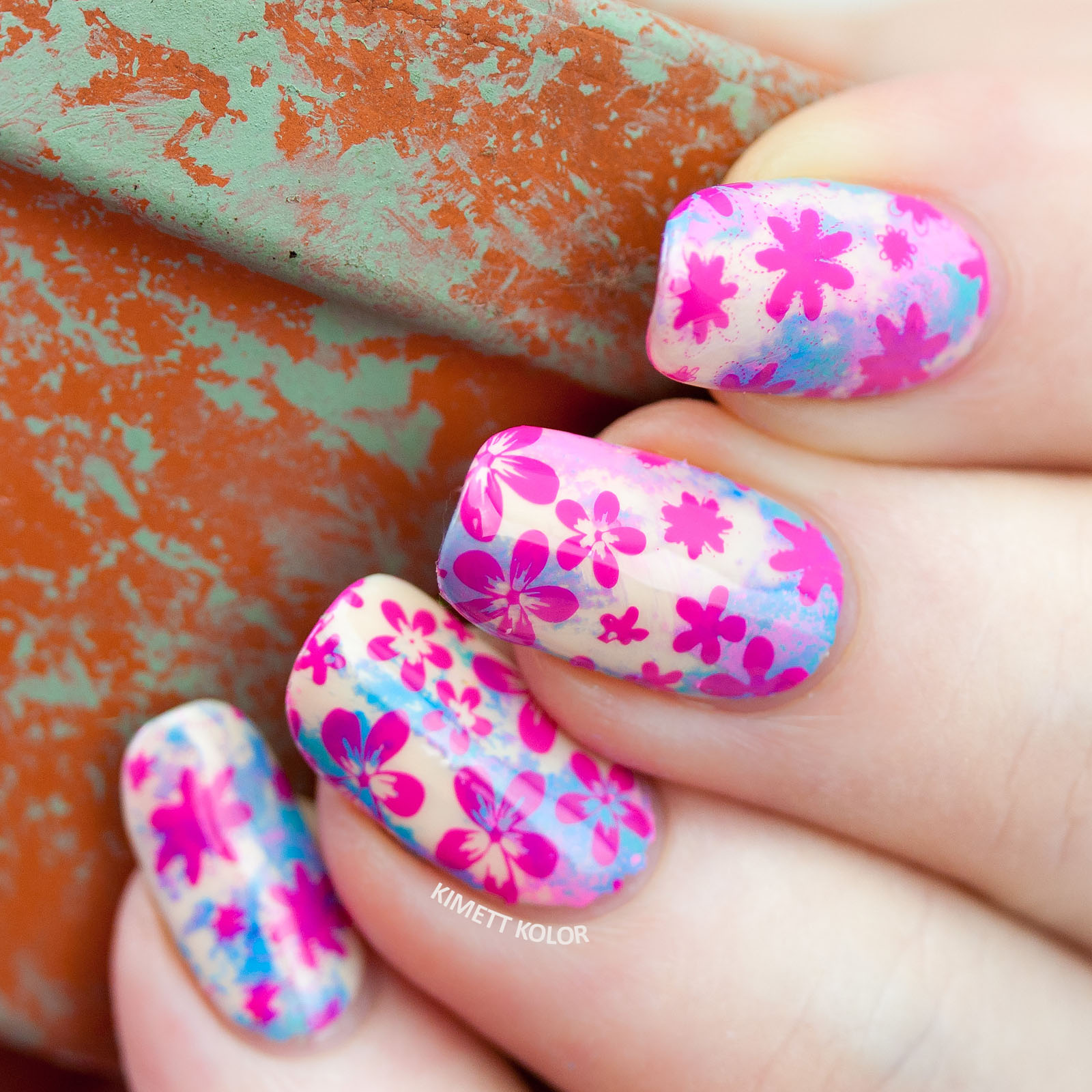Kimett Kolor Floral Stamping on Acid Wash polish base