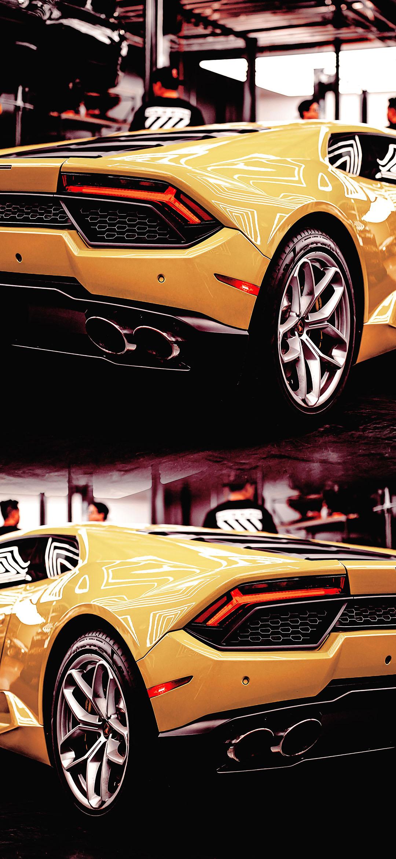 خلفية سيارة لامبورجيني الرياضية صفراء اللون