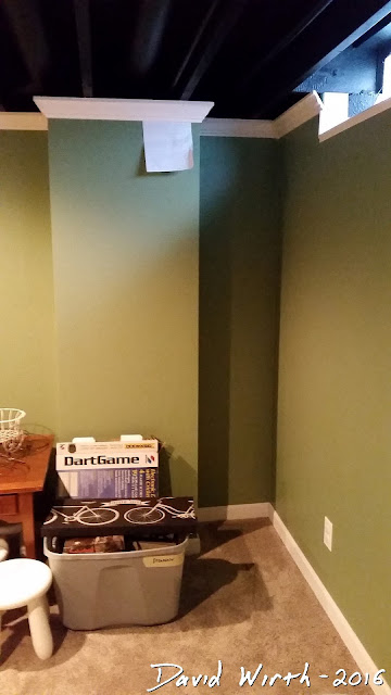 basement corner shelf, design, water meter