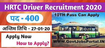 HRTC Driver Vacancy 2020  Govt Jobs in HP for 400 Bus Driver Posts